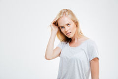 Portrait of confident beautiful young woman with blonde hair Stock Images