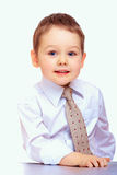 Portrait of confident business child. three years old boy. On white stock photography