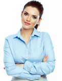 Portrait of confident business woman white backgro Royalty Free Stock Photo