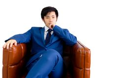 Portrait confident businessman. Attractive handsome young man is royalty free stock photography