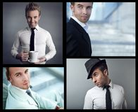 Portrait of confident businessman. Collage. Stock Photography
