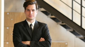 Portrait of Confident Businessman stock video footage
