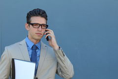 Portrait of confident businessman with his mobile phone outdoors Royalty Free Stock Images