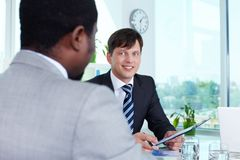 Businessman at attention Stock Photos