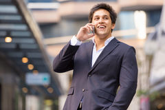 Portrait of confident businessman with mobile phone outdoors Royalty Free Stock Photography