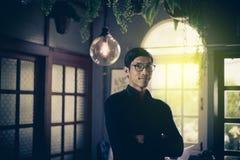 Portrait of confident caucasian asian man teacher royalty free stock photography