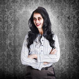 Portrait of a confident dead businesswoman. Portrait of a confident dead business woman with smile on distressed wooden wallpaper wall Stock Photos