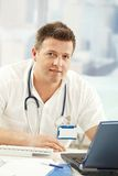 Portrait of confident doctor stock images