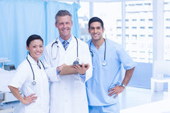 Portrait of confident doctors with arms crossed. At medical office Royalty Free Stock Image