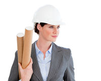 Portrait of a confident female architect. Against a white background Stock Image