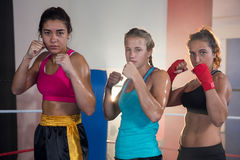 Portrait of confident female boxers standing in fighting stance. At fitness studio Royalty Free Stock Photos