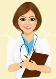 Portrait confident female doctor medical professional taking patient notes Stock Image