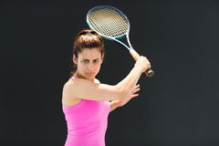 Portrait of confident female tennis player with racquet Royalty Free Stock Photos