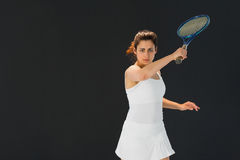 Portrait of confident female tennis player with racquet Stock Photography