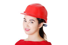 Portrait of confident female worker in helmet. Stock Photography