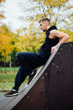 Portrait of a confident fitness guy. Man poses on skate ramp, against the background the autumn forest. Fall. Stock Photos