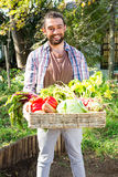 Portrait of confident gardener with vegetables in basket at garden Royalty Free Stock Images