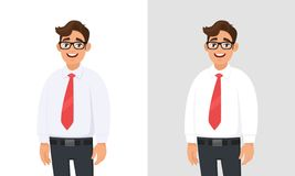 Portrait of confident handsome young businessman wearing white shirt and red tie, standing against white and gray/grey background. Businessman concept vector illustration
