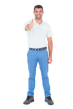 Portrait of confident handyman gesturing thumbs up Royalty Free Stock Photos