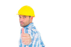 Portrait of confident handyman gesturing thumbs up Royalty Free Stock Photo