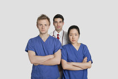 Portrait of confident healthcare workers standing over gray background Royalty Free Stock Photography