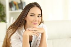 Confident home owner woman looking at camera royalty free stock images