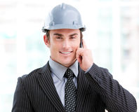 Portrait of a confident male architect on phone Stock Image