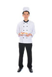 Portrait of confident male chef smiling isolated on white backgr Stock Photography