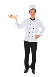 Portrait of confident male chef smiling isolated on white backgr Royalty Free Stock Images