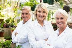 Portrait of confident male and female scientists. At greenhouse Stock Image