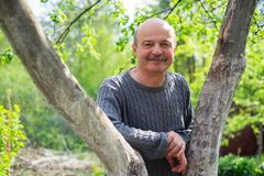 Portrait of confident male gardener standing near fruit tree. He is looking at camera and smile. Good summer day on country house Stock Images