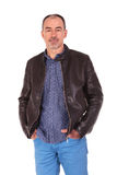 Portrait of confident man in leather jacket Royalty Free Stock Images