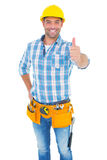 Portrait of confident manual worker gesturing thumbs up Royalty Free Stock Photography