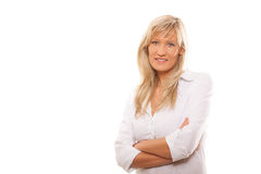 Portrait confident mature business woman isolated royalty free stock photo