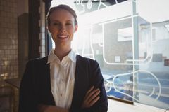 Portrait of confident owner in cafe royalty free stock photography
