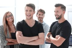 Portrait of confident peoples with colleagues in meeting at office royalty free stock image