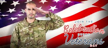 Composite image of portrait of confident soldier saluting. Portrait of confident soldier saluting against waving flag of america Royalty Free Stock Photo