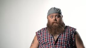 Cool fat male hipster with cap stock video