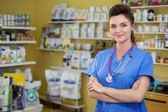 Portrait of a confident vet at clinic. Portrait of a confident veterinarian at clinic royalty free stock images