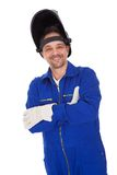 Portrait of confident welder in the mask Stock Image