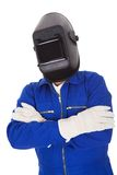 Portrait of confident welder in the mask Royalty Free Stock Photos