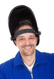 Portrait of confident welder in the mask Stock Photo