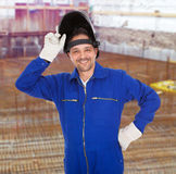 Portrait of confident welder in the mask Royalty Free Stock Image