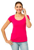 Portrait Of Confident Woman Using Smart Phone Royalty Free Stock Images