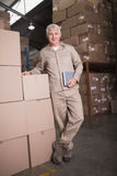 Portrait of confident worker in warehouse Stock Photography