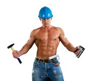 Portrait of confident young beautiful handyman with tools. House renovation service.  on white Royalty Free Stock Images