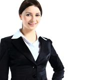 Portrait of a confident young business lady standing against Royalty Free Stock Photos