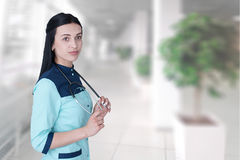 Portrait confident young female doctor. royalty free stock photo