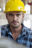 Portrait of confident young male worker in industry Royalty Free Stock Photography