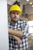 Portrait of confident young male worker in industry Stock Image